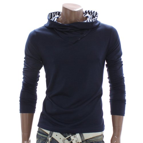 Mens Stripes Lined Hoodie Shirts NAVY (DAK89)