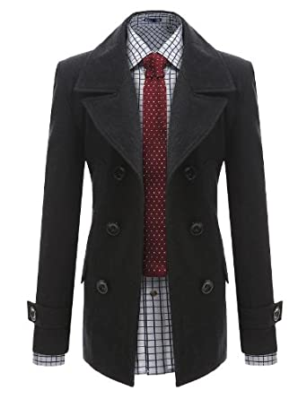 Buy Doublju Mens Wool Slim Double Breasted Half Trench Coat
