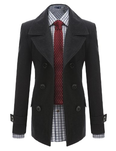 Jiniy Mens Double Wool Coat CHARCOAL L