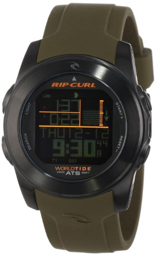 Rip Curl Mens A1088 Pipeline Stainless Steel Digital Watch with Green Silicone Band<br />