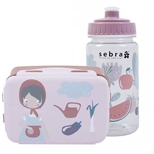 Sebra-Outdoor-Geschirr-Set-Brotdose-mit-Trinkflasche-Farm-Mdchen-BPA-frei-NEU