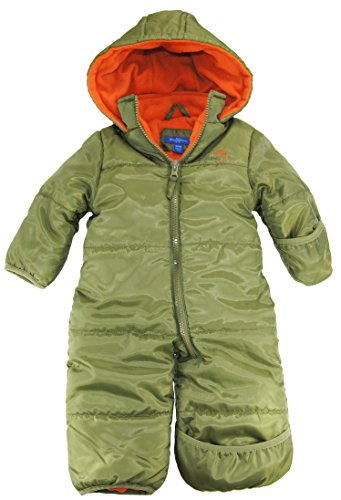 Ixtreme Baby Boys Newborn One Piece Solid Snowsuit, Olive, 3/6M front-938038