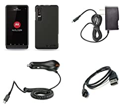 Motorola Droid 3 XT862 (Verizon) Premium Combo Pack - Black Rubberized Shield Hard Case Cover + Atom LED Keychain Light + Wall Charger + Car Charger + Micro USB Data Cable