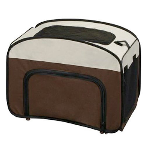Soft-Sided Portable Collapsible Pet Crate Small Osc-500 Brown front-68408