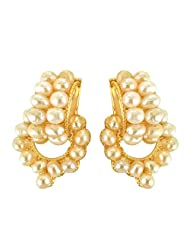 Surat Diamonds Temple Design Freshwater Pearl & Gold Plated Earrings For Women (SE167)