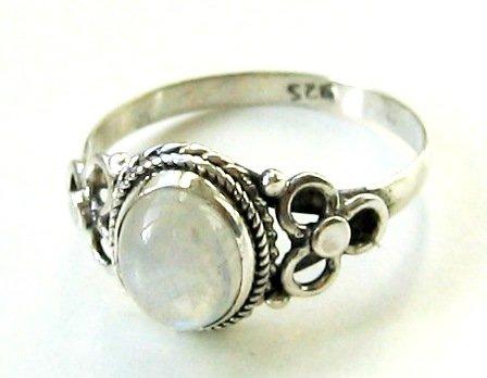 Shanya Sterling Silver Ethnic Ring Rainbow Moonstone