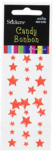 Mark Richards Assorted Star Candy Bonbon Stickers, Red, 27-Pack