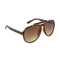 SHEK Black Aviator Brown Lens Men Sunglasses