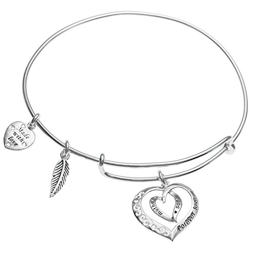 Sterling Silver Mother Son Forever Love Heart Leaf Dangle Charm Adjustable Wire Bangle Bracelet (Italian Charm Bracelet Mom compare prices)