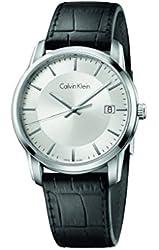 Calvin Klein Infinite Silver / Black Leather Analog Quartz Women's Watch K5S311C6