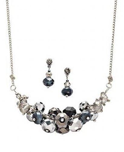 Silver Tone Jet Black Glass Bead Cluster Necklace & Drop Earrings Set