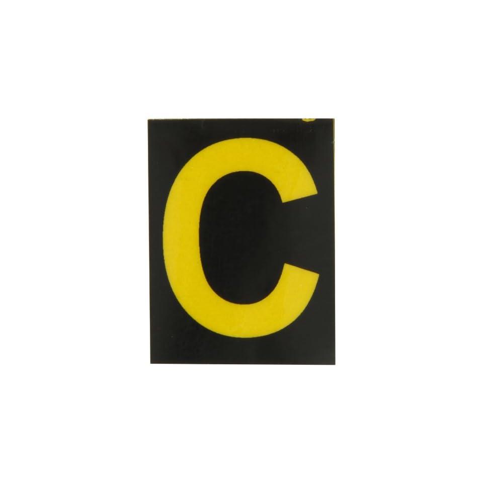 Brady 5890 C Bradylite 1 7/8 Height, 1 3/8 Width, B 997 Engineering Grade Bradylite Reflective Sheeting, Yellow On Black Reflective Letter, Legend C (Pack Of 25)