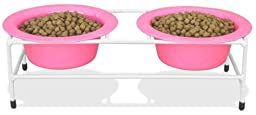 Platinum Pets White Modern Double Diner Stand, with Two 2 Cup Rimmed Bowls, Pink