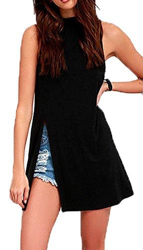 Womens Turtleneck Fullback Sleeveless Tank Top Open Side Split Long Solid Vest Dress (asian L(US M=US8