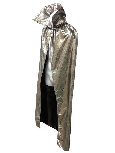 "Luchador Adult Size 54"" Metallic Halloween Costume Cape Top Quality - SILVER"