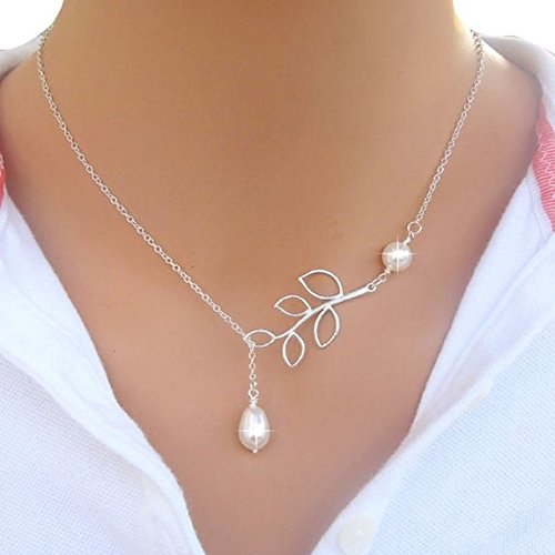 Binmer(TM)Fashion Women Necklaces Sexy Charm Leaves Sweater Chain Pearl Pendant Neck Necklaces Jewelry for Girl