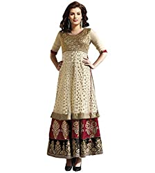 IndiWeaves Women's Golden Embroidered Cotton Unstitched Casual wear Churidaar Dress Material
