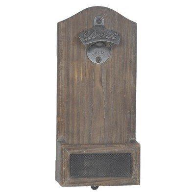Vintage Mounted Bottle Opener - Wood 0