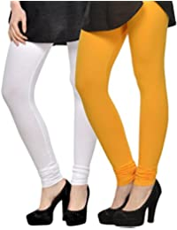 Kjaggs Women's Cotton Lycra Regular Fit Leggings Combo - Pack Of 2 (KTL-DB-3-5, Yellow, White)
