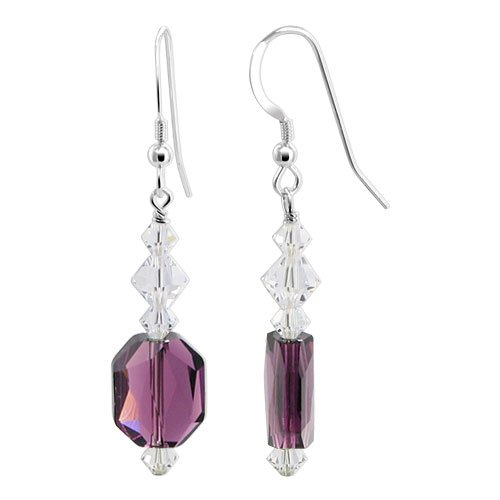 SCER562 Made with Swarovski Elements 11 x 9mm Amethyst Crystal .925 Sterling Silver French Wire 1.3