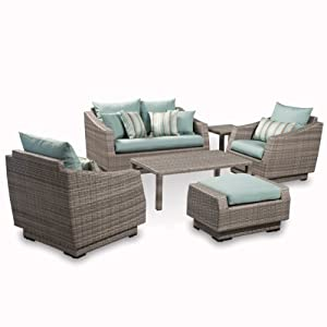 Rst Outdoor 6 Piece Cannes Love And Club Deep Seating Group Patio Furniture Set Bliss Blue