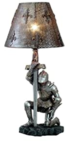 Medieval Kneeling Knight Suit of Armor Side Table Lamp Resin Figurine