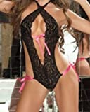 Sexy Black Lace & Pink Ribbon Babydoll Teddy Negligee Lingerie One Size Up to 14