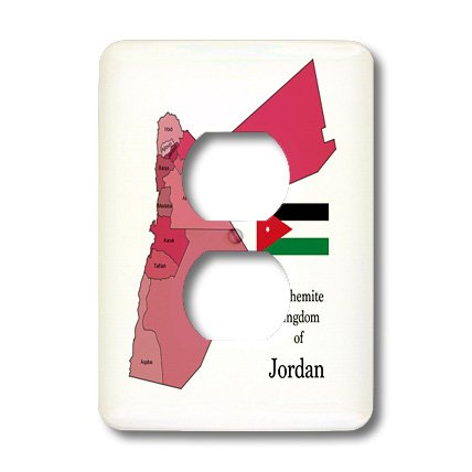 Lsp_185105_6 777Images Flags And Maps - Middle East - Flag Map Hashemite Kingdom Of Jordan. Governorates Colored, Labeled - Light Switch Covers - 2 Plug Outlet Cover