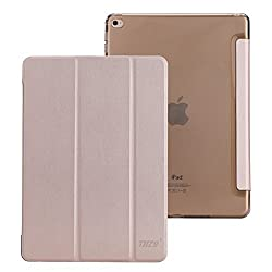 iPad Air 2 Case,THZY iPad Air 2 Smart Cover+Transparent Back Cover Apple iPad Air 2 (iPad 6) 2014 Model Ultra Slim Lightweight Stand with Smart Cover Auto Wake/Sleep (Champagne Gold)