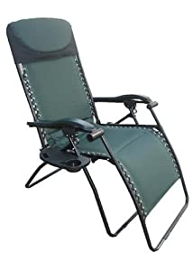 Deluxe Big Tall Outdoor Recliner Fully Padded For Ultimate Comfort 375lb Weight Limit by Fully Padded Folding Chair