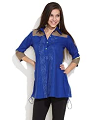 Span Women's Cotton Medium Blue Smart And Ethnic Shirt Kurti