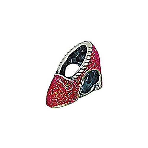 Zable Sterling Silver Red Enameled Slippers with Glitter Bead