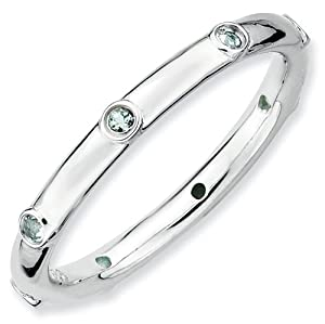 Sterling Silver Stackable Expressions Aquamarine Ring - Size 10