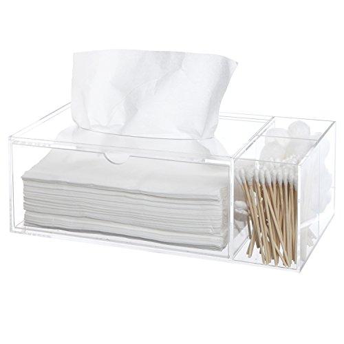 Deluxe Clear Acrylic Counter Top Multi Compartment Storage Organizer Box Tray W Tissue
