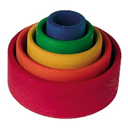 Grimm's Set of 5 Small Wooden Stacking & Nesting Rainbow Bowls, Red Outside - 1