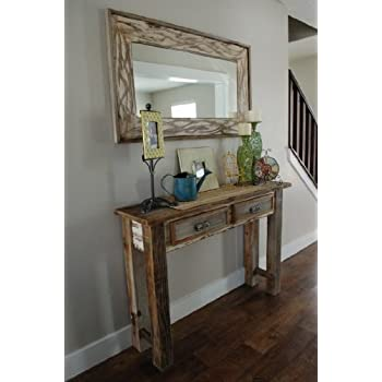 18x26 Rustic Denali Antique White Heavily Distressed Wood Mirror