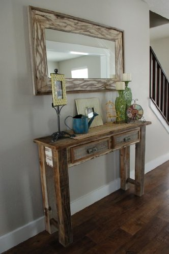 18x26 Rustic Denali Antique White Heavily Distressed Wood Mirror 1