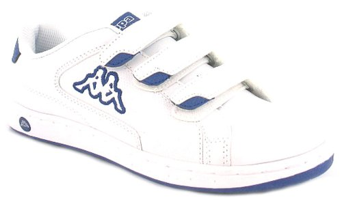 Boys/Childrens White Kappa Tennis Trainers With Punched Sidewall - White/Navy - UK 3-6