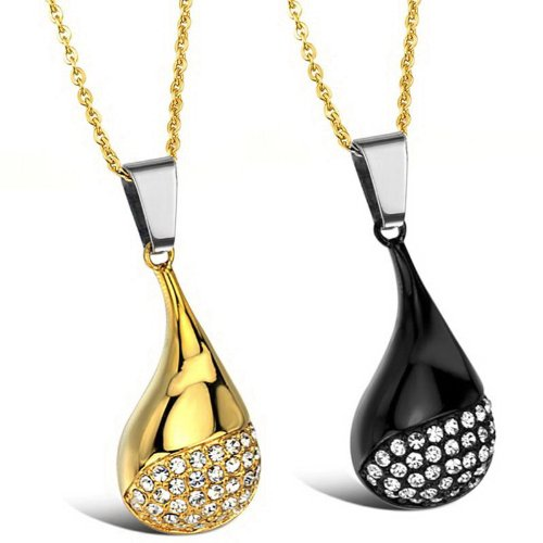 Opk Jewellery Necklaces Charms Stainless Steel Neckwear With Gold Chains Shinning Cubic Zirconia Pendants Necklets