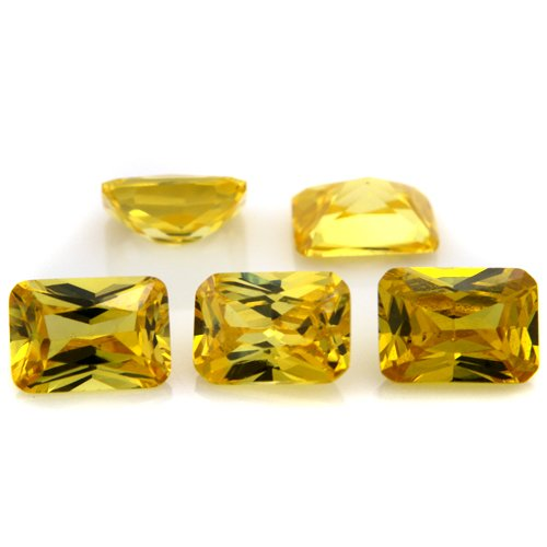 Octagon cut 5*7mm 20pcs Yellow Cubic Zirconia Loose CZ Stone Lot