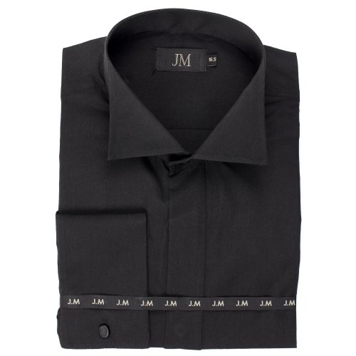 Men's Black Victorian Collar Formal Dress Shirt With Double Cuff, Sizes 14