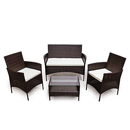 POLY RATTAN Lounge Gartenset Dunkelbraun Sofa Garnitur Polyrattan Gartenmöbel günstig