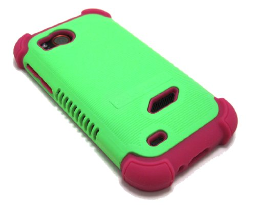 Cell-Nerds Nerdshield Grip Case Cover Green And Pink Compatible With The Htc Rezound (Verizon)