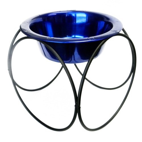 Olympic Dinner Stand w/ 32oz Stainless Steel Dog Bowl - Blue
