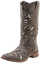 Roper Women\'s Laser Cut Metallic Underlay Boot Tan/Silver 5 M