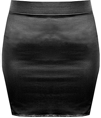 Lush Clothing B37-Black Wet Look Shinny Faux Leather Short Pvc Mini Skirt-Size-New - M/L=Uk 12-14