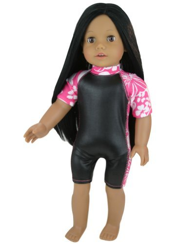 Hawaiian Print and Black Doll Wet Suit Perfect for Doll Surfing! Board, Doll & Shoes sold separately. 18 Inch Doll Suit Fits American Girl Dolls