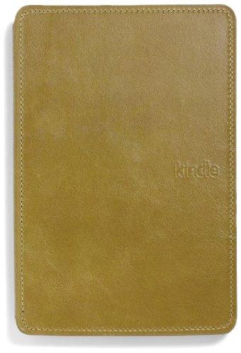 Imagen de Amazon Kindle cubierta de cuero iluminado, de color verde oliva