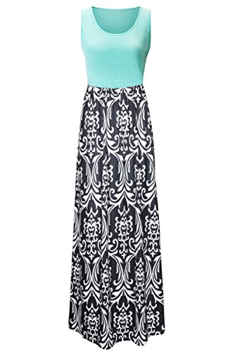 Zattcas Womens Summer Contrast Sleeveless Tank Top Floral Print Maxi Dress (X-Large, Mint Black)