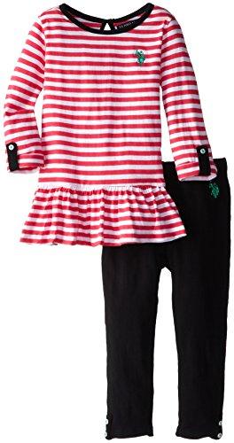 U.S. Polo Assn. Little Girls' Rolled Long Sleeve Peplum Top And Knit Legging, Pink, 2T